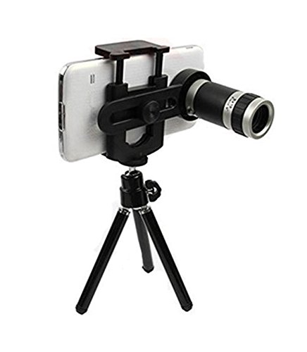 8X Aarvi 8X Optical Zoom Telescope Mobile Camera Lens Kit with Tripod and Adjustable Holder
