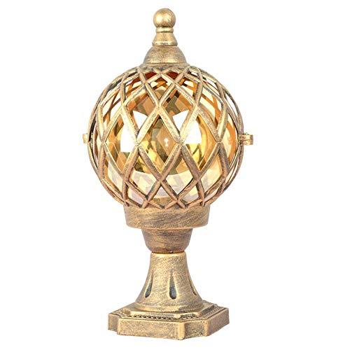 XGFYW Vintage Kugel Sockelleuchte Pfeilerlampe E27 Fassung Außenlampe Wasserdichter IP44 Aluminium Glas Laterne Retro Sockellampe für Garten Terrasse Balkon Gemeinschaft,Bronze φ20*45CM