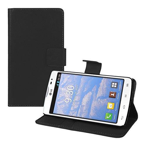 kwmobile Hülle für LG L80 - Wallet Case Handy Schutzhülle Kunstleder - Handycover Klapphülle mit Kartenfach und Ständer Schwarz (Handy-l80)