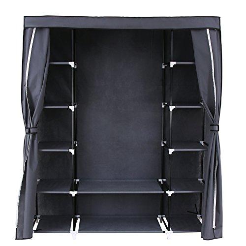 Songmics armadio cabina guardaroba appendiabiti in acciaio tessuto 175 x 150 x 45 cm grigio rlg45g