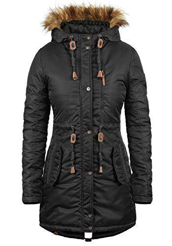 BLEND SHE Eda Damen Parka Winterjacke lang mit Kapuze aus hochwertigem Material, Größe:L, Farbe:Black (70155)