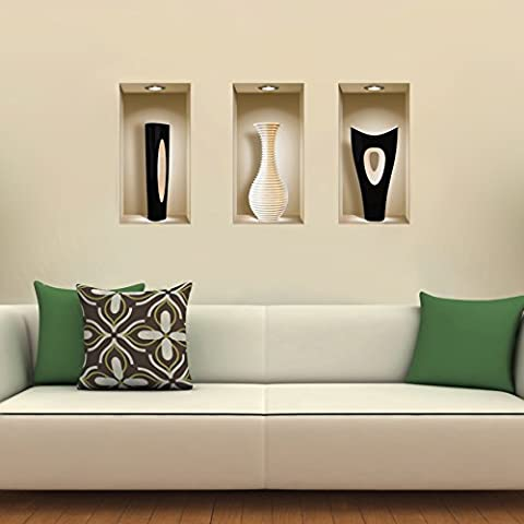 The Nisha Art Magic 3D Vinyl Removable Wall Sticker Decals DIY, Set of 3, Black and White Vase 755 - Vinile Vasi