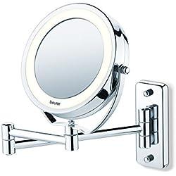 Beurer BS-59 - Espejo cosmético con luz LED, con brazo para pared, 2 espejos en 1, color plata