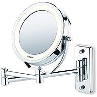Beurer BS 59 - Espejo cosmético con luz LED, con brazo para pared, 2 espejos en 1, color plata