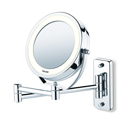 Beurer BS59 - Espejo maquillaje con luz LED, con brazo para pared, 2 espejos en 1, 1 cara vista normal...
