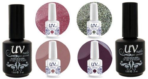 UV-Nails Soak-Off Gel Set Garden Party (GL12,GL9,G25,G31) 2 Glitters & 2 Vernis a Ongles Gel 0.5 OZ + Base & Top Coat 0.5 OZ + Polissoir & Lime a Ongles Aviva