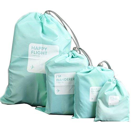 Sacs de rangement pour voyage maquillage cosmétique 4 pièces/lot Pochette étanche pour sous-vêtements Organisateur Bleu