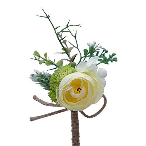 White Kostüm Tuxedo - Tonpot Knopfleiste Tuxedo Blumenstrauß Korsett Kostüm Zubehör für Brautjungfer und Braut (A), Milky White, 11 x 10cm