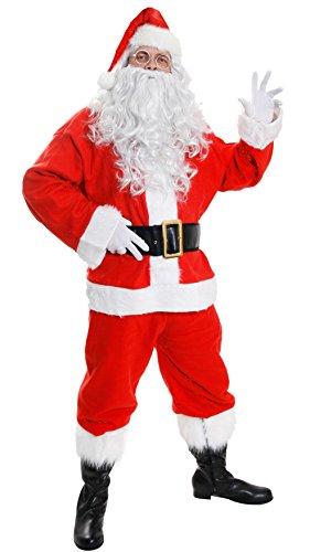ILOVEFANCYDRESS Deluxe Santa Kostüm Weihnachtsmann Anzug Fancy Kleid Kostüm 10Stück Velours Santa Claus Herren St Nick Plüsch Weihnachts Outfit (groß)