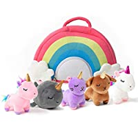 PixieCrush Unicorn Toys Stuffed Animal Gift Plush Set with Rainbow Case - 5 Piece Stuffed Animals with 2 Unicorns, Kitty, Puppy, and Narwhal - Toddler Gifts for Girls Aged 3, 4, 5 ,6 ,7, 8 yr olds