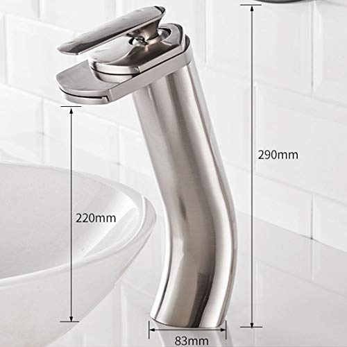 HBBOOI Alle Copper Wasserfall Waschbecken Taps Heiße und kalte Dusche Badezimmer Waschbecken Mixer Einhand massivem Messing Monoblock Mixer Küche-Hahn (Color : Chrome, Größe : Hoch) -