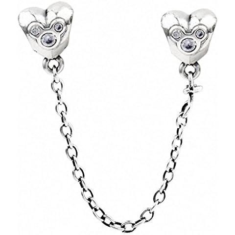 TAOTAOHAS antico collana Link di sicurezza chiusure sterling 925 argento charms beads perline [doppio cuore ] per bracciali