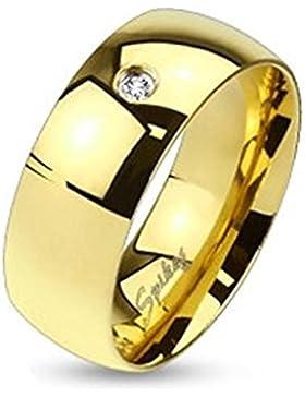 Tapsi´s Coolbodyart® Edelstahl Unisex Ring gold 6mm breit Classic Line mit Single Zirkonia verfügbare Ringgrößen...