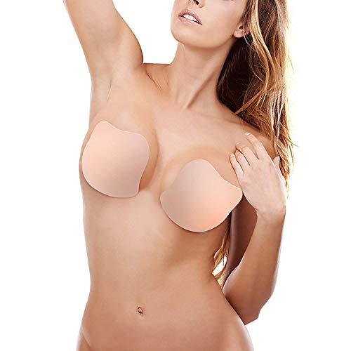 Trägerloser Pushup-BH, unsichtbarer BH-wiederverwendbare Brust-Sammlung Selbstklebender Silikon-Backless-BH-Nippel-Abdeckungs-Aufkleber für A/B/C/D Schalen-Frauen für Hochzeitsfest-Kleid(D Größe) -