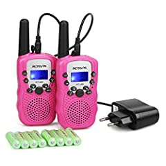 Idea Regalo - Retevis RT388 Walkie Talkie Bambini 8 Canali PMR446 CTCSS/DCS con Ricaricabile Funzione Torcia Suoneria VOX Display LCD (Rosa, 1 Coppia)