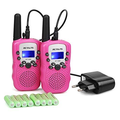 Retevis RT388 Walkie Talkie Kinder PMR446 mit wiederaufladbar Akku 8 Kanäle VOX Taschenlampe Tastensperre Funkgeräte für Kinder Geschenk Spielzeug Spy-Gear(1 Paar, Rosa)