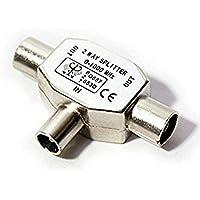 Duplicador splitter divisor ladron de dos vias para Señal de cable coaxial de radio y television TV digital 2384