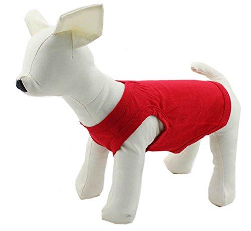 longlongpet Haustier Kleidung Hundemantel mit T-Shirt Tee Shirt Tank Top Weste für kleine mittlere große Hunde Größe der Sommer-Kostüm, 11Farben aus 100% Baumwolle