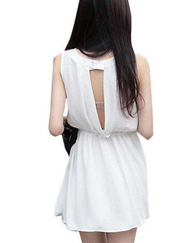 PU&PU Robe Aux femmes Gaine Street Chic,Couleur Pleine Col Arrondi Au dessus du genou Polyester WHITE-M