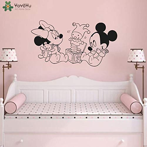 fancjj Adesivo Murale Topolino Minnie Mouse Decor Kis Room Neonate Ragazzi Camera da Letto vivaio Art Poster Decorazione della casa 78x42cm