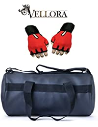 VELLORA Leather Soft Gym Bag (Black) With Netted Gym & Fitness Gloves With Wrist Support Red Color