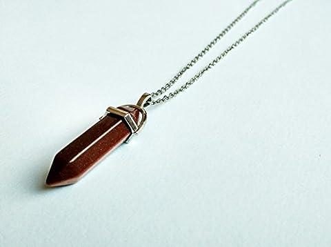 Cristal–inspiré Goldstone hexagonal point Pendentif chakra Cut Pierre précieuse Bijoux tendance