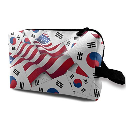 aefe8d0518b South Korea Flag with America Flag Toiletry Bag Waterproof Fabric Cosmetic  Bags Travel Case For Women's