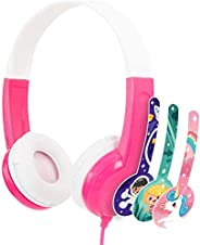 BuddyPhones - Connect Foldable On-Ear Wired Headphones - For Kids Portable Headset Volume Limiting Children He