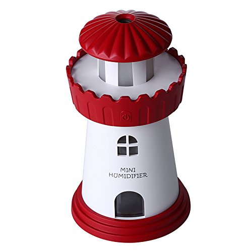 Creative mini Leuchtturm USB Ultraschall Luftreiniger,Miya Fogger Büro Auto USB Luftreiniger Mini Portable Aroma Diffusor mit LED-Leuchten 150 ml Luftbefeuchter für zuhause, Yoga, Büro, Schlafzimmer.