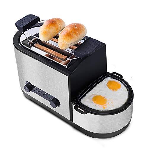 WUANNI Toaster 3 In 1 Praktischer Automatik Toaster Bis Zu 7 Bräunungsstufen Und 2 Brotscheiben Gebürsteter Edelstahl Sandwich Maker Mit Eierkocher Und Elektrischee Pfannen