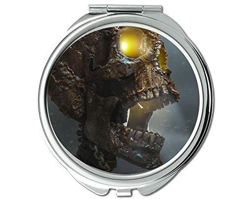 Yanteng Spiegel, Rundspiegel, Totenkopfschädel, Bronze, Dunkles Skelett, Taschenspiegel, 1 X 66X Vergrößerung