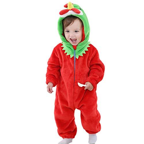 (G WELL Kinder Baby Tier Kostüme Tieroutfit Cosplay Jumpsuit Schlafanzug Mädchen Jungen Winter Nachtwäsche Strampler Küken 70)