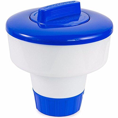 Wokee 8 Zoll Deluxe große blaue und weiße Große schwimmende Chlor Tablet Spender für Pools Schwimmbecken Chlor - Spa Chlor Für Tabs