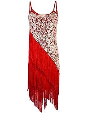PrettyGuide Donne 1920 Eleganti Paisley Art Deco Paillettes Nappa Glam Vestito Da Festa Gatsby
