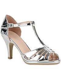 Stiefelparadies Damen Sandaletten Lack Stiletto High Heels Sandalen Glitzer Strass Party Schuhe Riemchensandaletten Metallic T-Strap Flandell