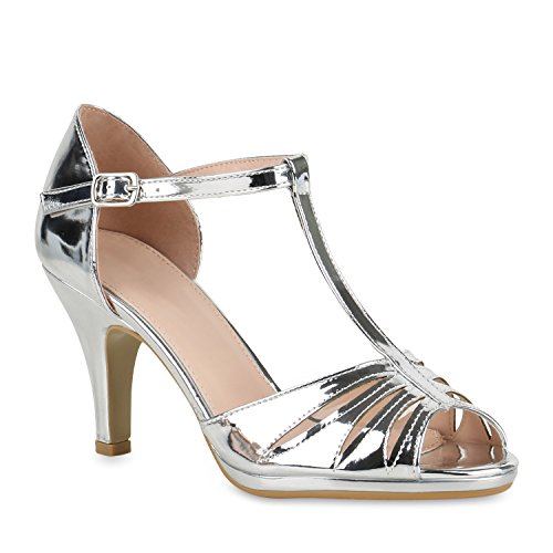 Stiefelparadies Riemchensandaletten Damen Schuhe Lack Sandaletten T-Strap Stilettos 141017 Silber T-Strap Lack 39 Flandell