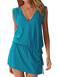 868a70480ab8 Summer Womens Casual Sleeveless Beach Dress Ladies Sexy V Neck Halter  Backless Mini Kimono Dresses Beach Bikini Cover Up Caftan Tunic…