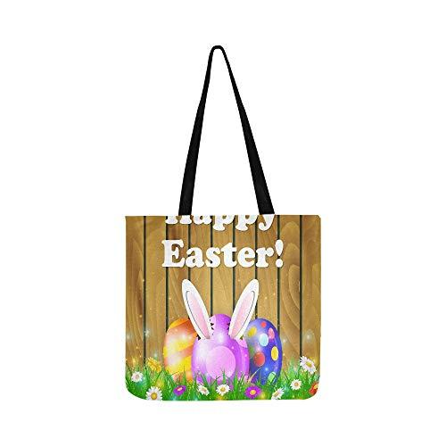 Ostereier im Gras auf braunem Holzleinen Handtasche Schultertasche Umhängetasche Geldbörse für Damen und Herren Einkaufstasche