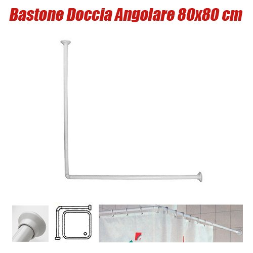 Bastone asta tubo per tenda doccia e vasca 80x80 cm colore bianco