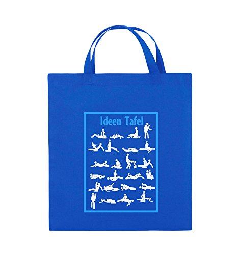Comedy Bags - Ideen Tafel - SEXSTELLUNG - Jutebeutel - kurze Henkel - 38x42cm - Farbe: Schwarz / Weiss-Neongrün Royalblau / Weiss-Hellblau