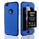 CASYLT [kompatibel für iPhone 5 / 5s / SE] 360 Grad Fullbody Soft-Case Hülle [inkl. 2X Panzerglas] Komplettschutz TPU Handyhülle in Blau