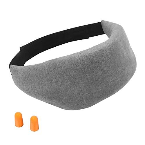 Lychee Schlafmaske Augenmaske aus 100% Baumwolle | Ultra-weiche und bequeme | Blackout Auge Schlafmaske für Damen und Herren | mit verstellbarem Klettverschluss & Ohrstöpsel | Reise-Zubehör