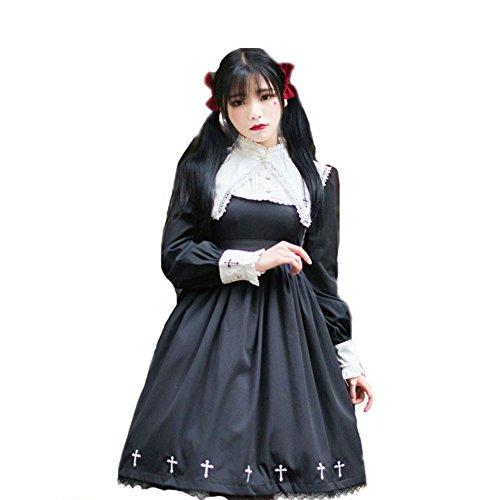 Kostüm Japanischen Harajuku Mädchen - Double Villages Heilige Mädchen Lolita Kleid Langarm Kreuz Stickerei Kleid Abnehmbare Spitze Kragen Kostüm Kleid Schwarz (S) (M)