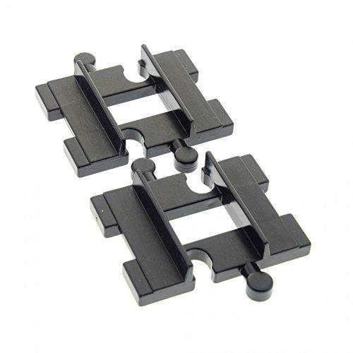 Bausteine gebraucht 2 x Lego Duplo Schiene Verlängerung gerade schwarz kurz Verbindung Eisenbahn Schiebe Zug für Set 1048 9154 9153 9161 2713 4665