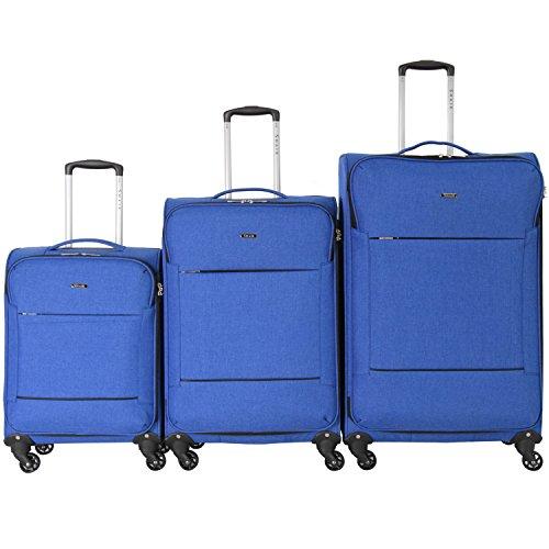 Shaik Serie FLEDER Design PVG 3 Größen M | L | XL | Set | Softcase Weichgepäck Kofferset, 4 Doppelrollen, Zahlenschloss … (Set, Blau)