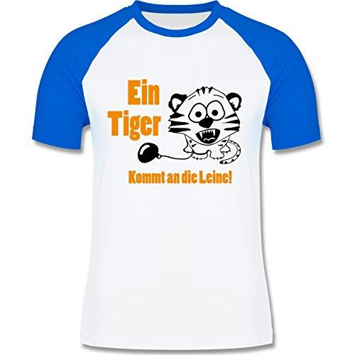JGA Junggesellenabschied - Ein Tiger kommt an die Leine - zweifarbiges Baseballshirt für Männer Weiß/Royalblau