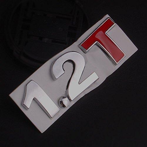 Duspper - Metall 1,2T Badge Turbo 2.1T 1.2 T-Abziehbild-Aufkleber-Auto-hintere Stamm-Emblem Aufkleber gepasst für Universalauto