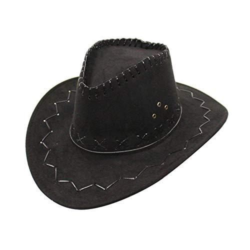 QueenHome Cowboyhut Faschingshut Zubehör breiter Krempe Westernhut Wild West Super Deluxe Braun Wildleder Faschings-Zubehör Junge Mädchen Party Kleid Cowgirl Cowboy Hut Schwarz