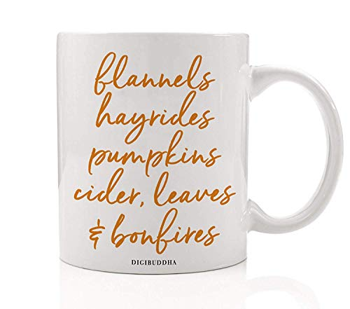 Autumn Season Coffee Tea Mug Gift Idea Everything Fall Pumpkins & Spices Seasonal Thanksgiving Dinner Halloween Parties Present Family Coworker Home Office 11oz Ceramic Beverage Cup OH0380