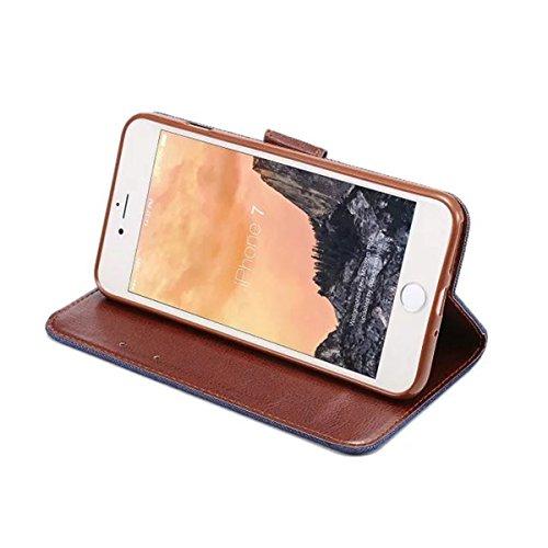 iPhone 7 Hülle, Apple iPhone 7 Hülle, Lifeturt [ Schwarz ] PU Leder Flip Case im Bookstyle Folio Cover Ledertasche Schutzhülle Case Tasche mit Standfunktion und Karte Halter für Apple iPhone 7 E2-Weiß